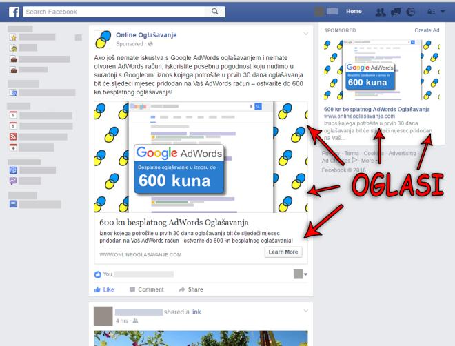 facebook oglašavanje - prikaz oglasa