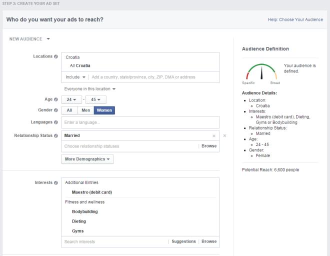 facebook oglašavanje - ciljanje korisnika